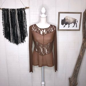 Jolt brown sheer and lace long sleeve top